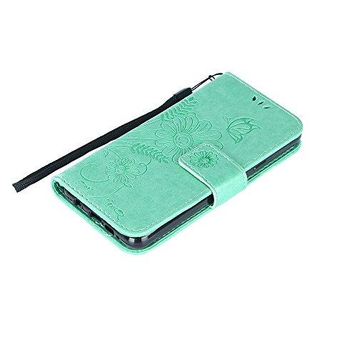 Samsung Galaxy A3 2016 Hülle,Samsung Galaxy A3 2016 Leder Wallet Tasche Brieftasche Schutzhülle,Cozy Hut Schmetterling Ameise-Dating Muster Schutzhülle für Samsung Galaxy A3 2016 Hülle Flip Case Walle azurblau