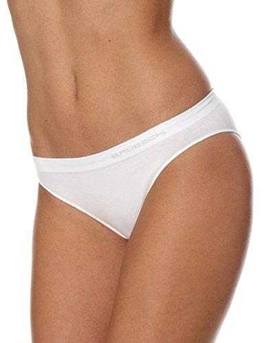 BRUBECK 5er Pack Damen Bikini Slips | 80{8b8790c5b988c69479953164ae30825a5f1230252210d3faddfc75ab91f96fa9} Baumwolle | Seamless | Formstabil | Fusselfrei | Sportslip | Funktionswäsche| BI10020A M White