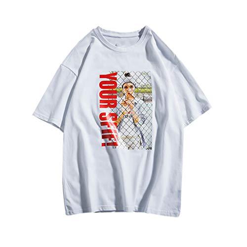 Tyoby Herren T-Shirt Drucken Mode Lose Größe halben Ärmeln Hemd Freizeit Tops,Sommer Street Herrenbekleidung(WeißA,L)