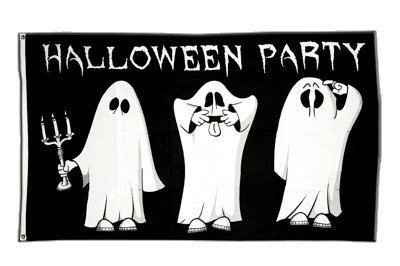 Fahne / Flagge Halloween Party + gratis Sticker, Flaggenfritze®