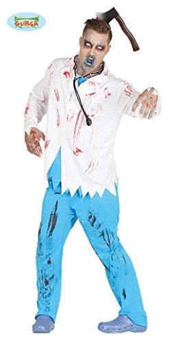 Zombie Chirurg Arzt Kostüm für Herren Arztkostüm Halloween Doktor blau blutig weiß Gr. M/L, (Kostüm Er Chirurg)