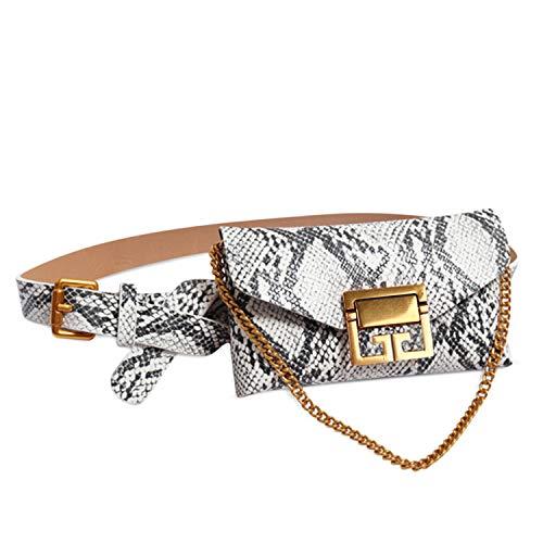 DORRISO Elegant Damen Gürteltasche Leder Bauchtasche Umhängetasche Kette Schultertasche Gestepptes Leder Clutch Bag Brieftasche Weiß - Weiße Gesteppte