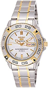 Seiko 5 Men's White Dial Stainless Steel Automatic Watch - SNZB