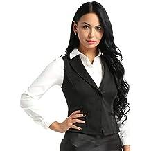 7089d20f7ca CHICTRY Femme Petit Gilet Costume Veste Slim sans Manches Business Suit  V-Neck Dame Salopettes