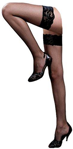 krautwear® Damen Strümpfe Netz Fishnet Strapsstrümpfe mit Spitzenabschluss in schwarz rot oder weiss (schwarz) -