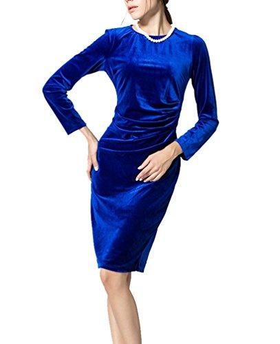 Ghope Autome Hiver Robe de soirée Empire Velours Unie Manche Mi-Longue Robe Contraste col Rond Bleu