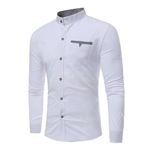 SEWORLD 2018 Herren Herbst Winter Hemd Slim Einfarbig Beiläufige Langarmhemd Lose Fit Hemden Shirt Oberteil Oktoberfest (Weiß,EU-54/CN-XL)