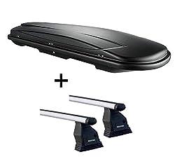 VDP Dachbox VDPJUXT400 schwarz 400 Ltr abschließbar + Aluminium Dachträger Menabo Tema kompatibel mit Mercedes CLA Shooting Brake (X117 Kombi 5 Türer) ab 2015