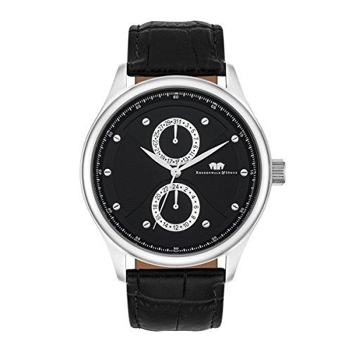 Rhodenwald & Söhne Montre bracelet Calador Homme Multifonctions Quartz noir bracelet cuir véritable Etanchéité 5 ATM 10010278