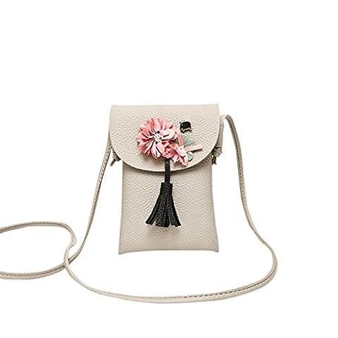 Zarupeng Frauen Applique Floral Quaste Mini Telefon Tasche Schultertasche Geldbörse (Grau)