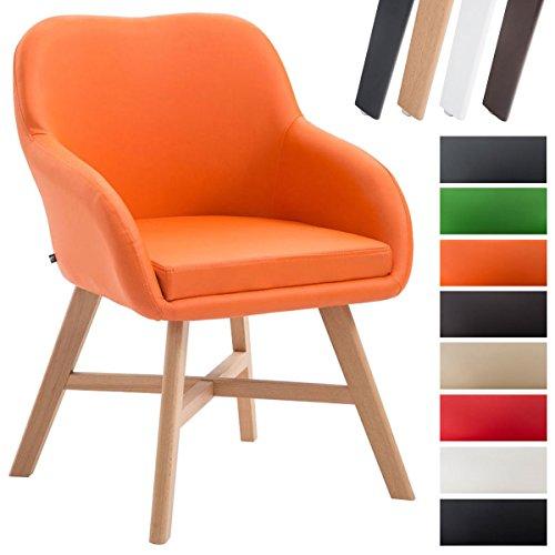 CLP Silla de comedor KEPLER con tapizado de cuero sintético. También perfecta como silla para sala de espera. Soporte de madera de haya. naranja, color del soporte: madera natural