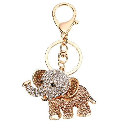 Llavero Corchete del Rhinestone Monedero Coche (Orange Elefantes)