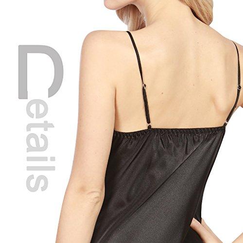 Dolamen Damen Satin Nachthemd Negliee, Spitze Sleepshirt Schlafanzug, Luxus und Charmant Ladies Lang Nachtwäsche Nachtkleid Lingerie Pyjamas Sleepwear Schwarz