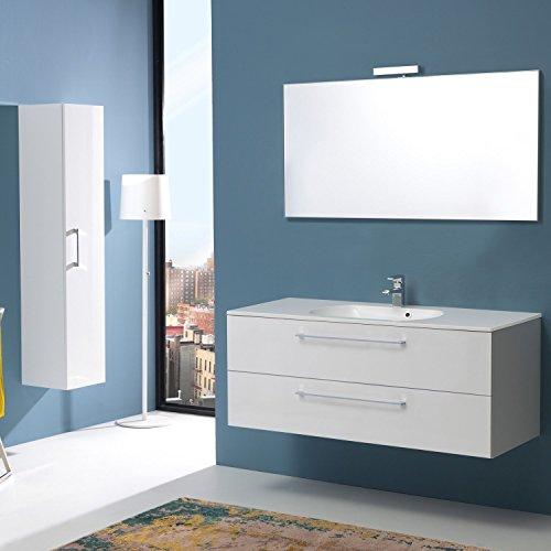 Mobile bagno da 120 cm con due cassetti boston in bianco lucido