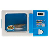 SM SunniMix Microwave Kitchen Play Set with Pretend Play Food - for Kids Toddlers Educational Toy - Battery Powered Playset - Blue