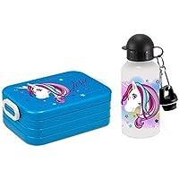 Preisvergleich für Mein Zwergenland Set Lunchbox Rosti Mepal Maxi Take A Break Midi Brotdose Brotbox und Alu-Trinkflasche mit eigenem Namen Unicorn Einhorn Beauty (Türkis)