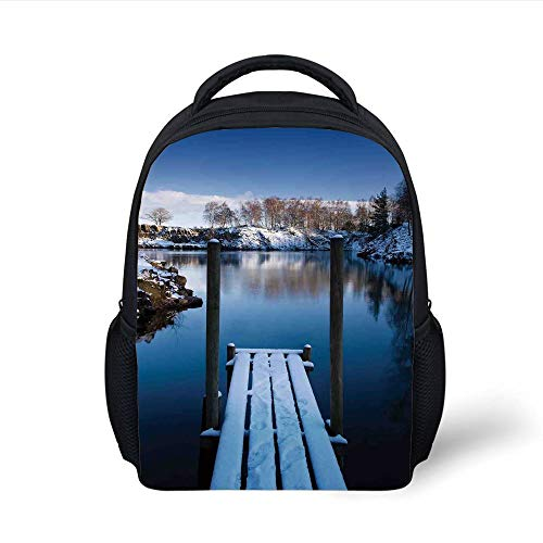 Kids School Backpack Art,Photo of Wooden Deck on The Shore of a Small Lake in Winter Sweden Frozen Northern,White Blue Brown Plain Bookbag Travel Daypack