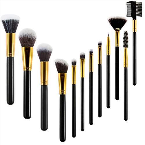 Pinceaux de maquillage, Kit de pinceaux de maquillage Kabuki Fond de teint mélange de poudre correcteur d'ombres à paupières (12pcs)