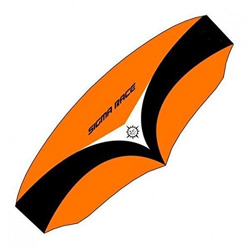 elliot 1012715 Elliot Sigma Race 4.0 Dreileiner-Lenkdrachen (Lenkmatte), rtf, inkl. Controlbar, 350cm x 142cm, schwarz/weiß/orange