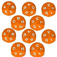 Febbya Dice D10,Polyhedral Dice Set 10 Pack for DND MTG RPG Dungeons and Dragons Dice Game Table Games Dice Acrylic Orange