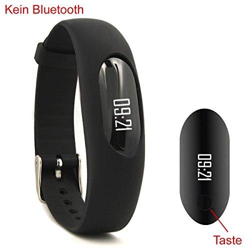 er Fitness Tracker, Aktivitätstracker, Pedometer, Schrittzähler, Kalorienzähler, Entfernungs-Rechner, Schlaf-Monitor Kein Bluetooth, Keine APPs. Schwarz ()