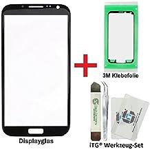 iTG® PREMIUM Juego de reparación de cristal de pantalla para Samsung Galaxy Note 2 Negro (Jet Black) - Panel táctil frontal oleofóbico para N7100 N7105 LTE + 3M Adhesivo precortado y iTG® Juego de herramientas