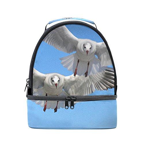 COOSUN Fliegende Möwen Vogel Lunch Bag Dual-Deck Isolierte Lunch Cooler Tote Bag verstellbaren Riemen Griff für Männer Teens Jungen Mädchen Groß Multi -