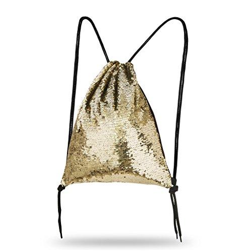 Lady Donovan - Turnbeutel Sportbeutel Tasche Bling Bag Jute-Beutel Glitzer einfarbig Gold