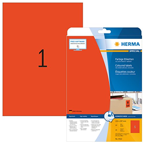 Herma 4422 Farbetiketten ablösbar, rot (210 x 297 mm, Format DIN A4) 20 Aufkleber, 20 Blatt Papier matt, bedruckbar, selbstklebend