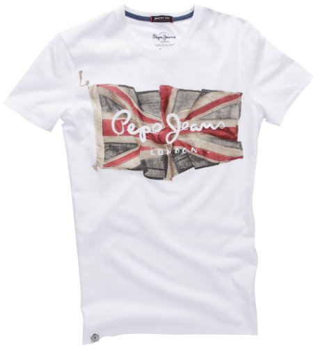 Pepe Jeans London Herren T-Shirt Flag Logo Weiß (WHITE)
