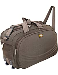 007fc20bb8d7 Alfisha Unisex Lightweight Waterproof Polyester Brown Travel Duffel Bag  Luggage with Roller Wheels