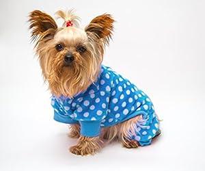 Dot chaud Polaire Pyjama Survêtement de sommeil XS S M Chien Vêtements à rabat de luxe pour chiot Pet Vêtements Manteau T-shirt Apparel Pull à capuche Cadeau chaud Petite Medium Chiens de grande taille (Bleu Dot, S)
