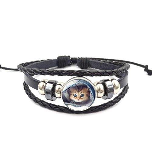 Missrui Charm Chat en Cuir Corde Bracelet Cadeau d'anniversaire pour Femme Fille