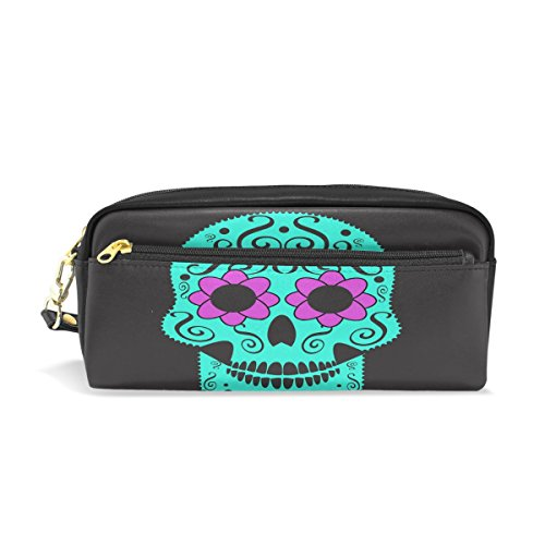 Bleistift Fall, Mexiko Totenkopf bedruckt Reise Make-up Pouch Large Wasserdicht Leder 2Fächer für Mädchen Jungen Damen Herren (Mexiko-handy-fällen)