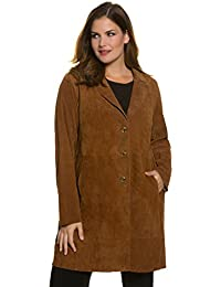 Ulla Popken Women's Plus Size Button Front Long Suede Coat 705801