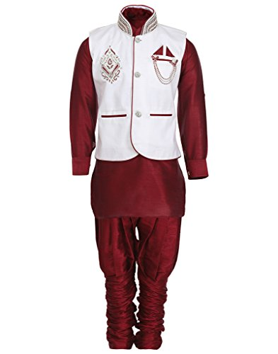 AJ Dezines Kids Kurta Pyjama Waistcoat Set for Baby Boys (641_MAROON_0)