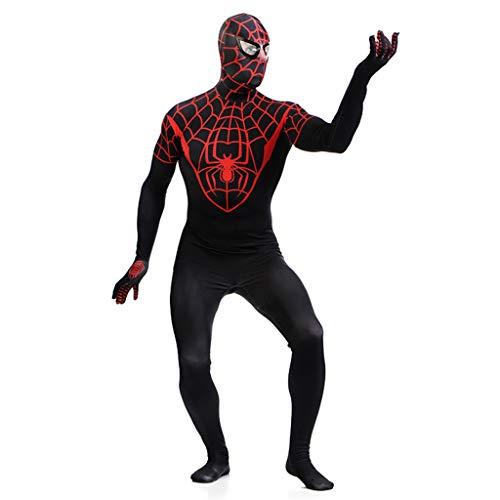 Spandex Kostüm Anpassen - Alaeo Zentai Lycra Spandex Schwarz Spider-Man Cosplay Kostüm Body Vollmantel 3D Digitaldruck Spider-Man Strumpfhose Cosplay Onesies für Erwachsene Herren Halloween,Schwarz,XL
