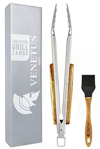 VENETUS-BBQ Grillzange und Grillpinsel aus edlem Akazienholz | Premium Grillzange XL mit 45 cm extra lang aus Edelstahl | Hochwertiges Grillzubehör | Ideales Grill-Geschenk -