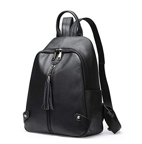 Yyqtbb Frauen Rucksack aus weichem Leder Rucksack für Mädchen Schultasche Casual Daypack Schule Rucksäcke Tasche Satchel Schwarz (Upgrade Design Schwarz) -