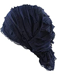Las mujeres gasa pañuelo para la cabeza Cap volantes cáncer Chemo gorro Beanie pañuelo para la