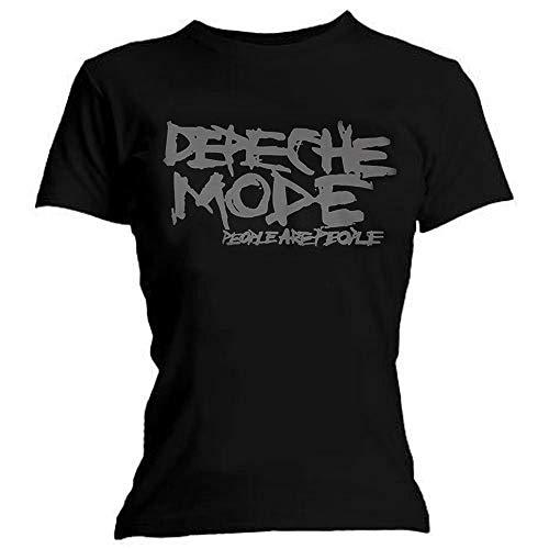 Camiseta Oficial para Mujer, diseño de Depeche Mode People Are People Negro Negro (40