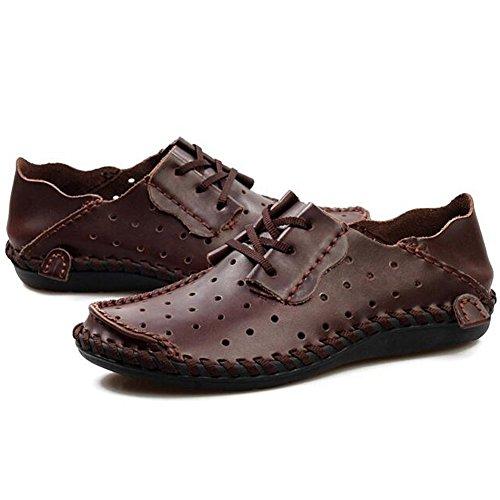 Herren Leder Flache Loafers Fahren Schuhe Ledersandalen Lochen atmungsaktive Kleidung Kaffee