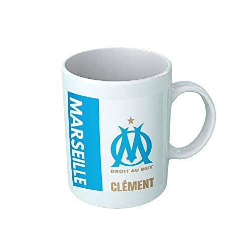 Mug tasse personnalisé Olympique de Marseille et prénom - Cadeau personnalisé pour les amateurs de foot - Tasse personnalisable et originale