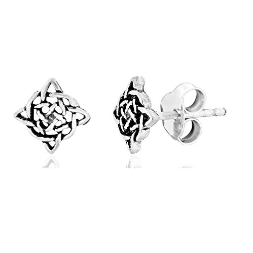 DTPSilver - 925 Sterling Silver Celtic Knot Studs Earrings IpFUpx