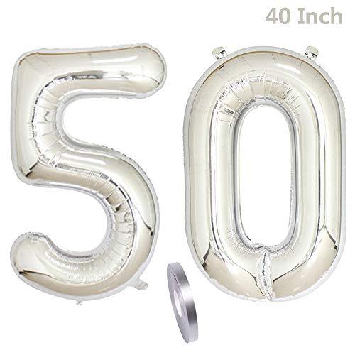 2 Globos Número 50, Number 50 Decoración de Cumpleaños de Silver Girl, 40' Globo Inflable de Plata, Figuras de Globos de Helio Gigantes, Decoración para Fiestas, Día de San Valentín (xxxl 100cm)