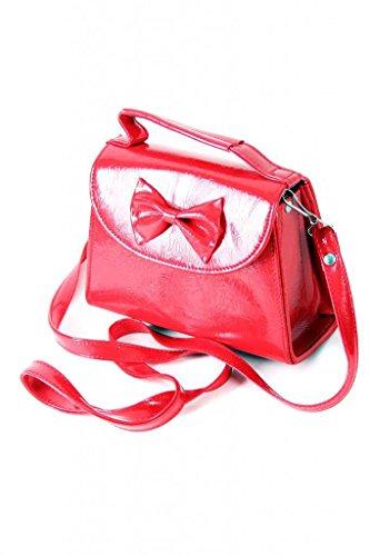 Damen Rot Koffer SugarShock Rockabilly Lack Tasche Handtasche dxwISqBY