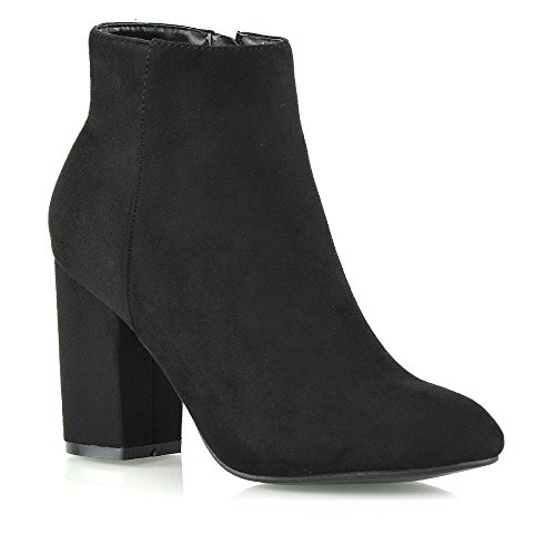 ESSEX GLAM Womens Ankle Boots Block Mid High Heel Ladies Casual Smart Party Shoes Booties