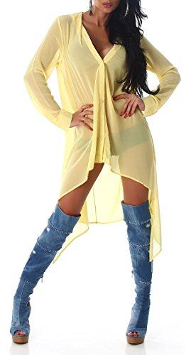 Damen Langarmbluse Bluse lang Tunika Stehkragen Swetashirt Sweater Sexy S M L Farbe Yellow 40