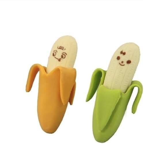 material para la escuela kawaii SODIAL(R) 2 x Goma De Borrar Borrador Con Forma De Banana Fruta Multicolor