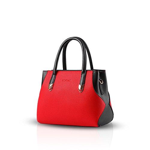 NICOLE&DORIS Neu Einfach Frauen Handtaschen Umhängetasche Damenhandtaschen Henkeltaschen Schultertaschen Shopper Bag Wasserdicht PU Rosa Groß Rot